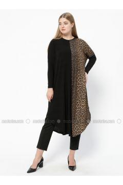 Black - Brown - Leopard - Crew neck - Plus Size Tunic - Arıkan(110318156)