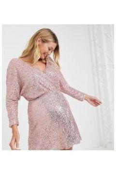Club L London Maternity - Vestito corto a portafoglio con paillettes rosa tenue(121794320)