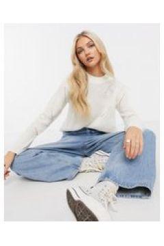 JDY - Maglione bianco a maniche lunghe in maglina con dettagli-Crema(124133145)
