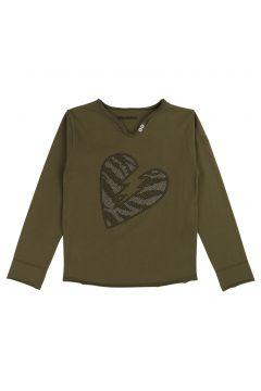 T-Shirt mit Henley-Kragen mit Strass(114142205)