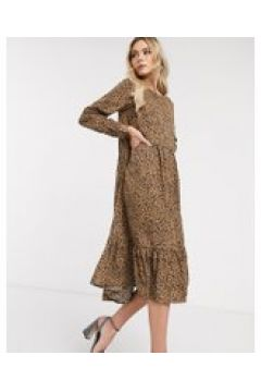 Never Fully Dressed - Vestito lungo a trapezio leopardato con fondo a volant-Multicolore(120331274)