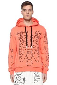 Haculla Erkek Sing Pembe Kapüşonlu Baskılı Sweatshirt Kırmızı M EU(108972843)