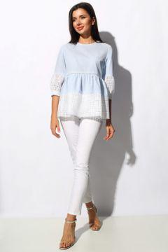 Комплект брючный Миа Мода 1159 молочно-белый с голубым(115248695)