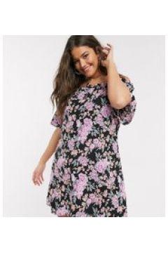 Fashion Union Plus - Vestito corto stile Bardot a fiori-Nero(120331751)