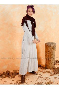 Gray - Crew neck - Unlined - Cotton - Dresses - Muni Muni(110336264)