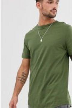 River Island - T-Shirt in Khaki mit doppeltem Saum - Grün(94103552)