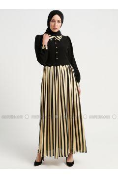 Mustard - Stripe - Point Collar - Fully Lined - Dresses - Tuana(110337072)