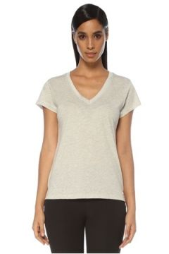 Beymen Collection Kadın Gri Triko V Yaka Klasik T-shirt S(121108280)