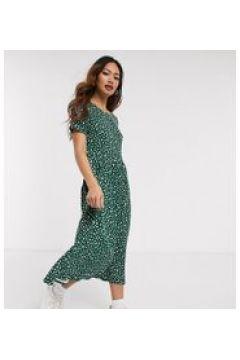 Wednesday\'s Girl - Vestito grembiule midi con stampa a piccole macchie-Verde(120328481)