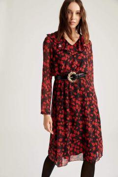 DeFacto Kadın V Yaka Omuzu Volanlı Dokuma Elbise(125934604)