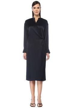 Vince Kadın Lacivert Dik Yaka Bağcıklı Midi İpek Elbise M EU(108810139)