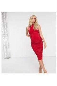 Club L London Maternity - Vestito al polpaccio accollato aderente rosso(122557355)