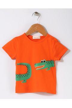 Mammaramma Bebek Timsah Baskılı Turuncu T-Shirt(113968014)