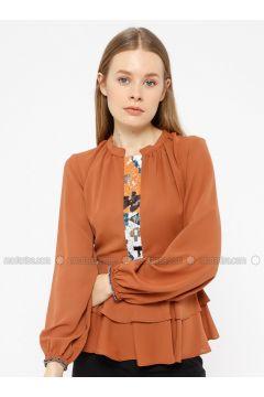 Orange - Crew neck - Blouses - REPP(110339065)