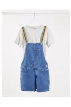 ASOS DESIGN - Salopette di jeans corta con spalline arcobaleno-Blu(120357134)