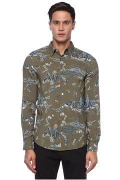PS by Paul Smith Erkek Haki Polo Yaka Karışık Desenli Gömlek S EU(121108256)