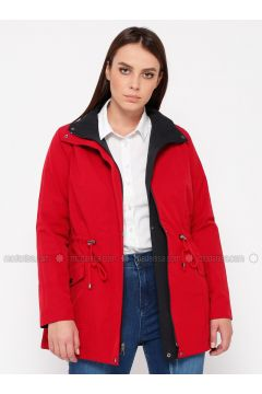 Red - Navy Blue - Plus Size Coat - RMG(110322995)