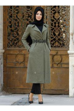 Khaki - Unlined - Shawl Collar - Jacket - Nurkombin(110329565)