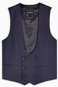 Gilet de costume skinny bleu marine à carreaux(110405208)