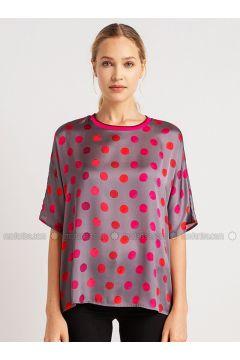 Gray - Polka Dot - Crew neck - Blouses - NG Style(110341204)