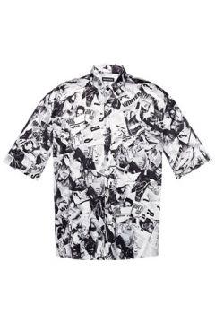 Balenciaga Erkek Siyah Beyaz Düğmeli Yaka Desenli Kısa Kol Gömlek 39 IT(113464385)