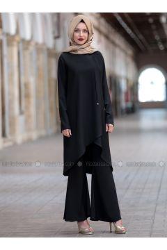 Black - Unlined - Suit - Emsale(110319089)