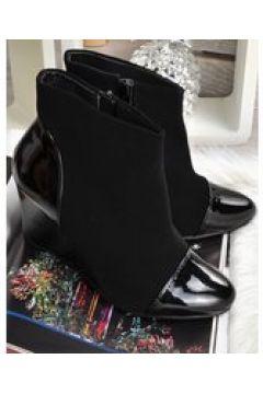 Pantofelek24.pl   Eleganckie czarne botki na koturnie(112082772)