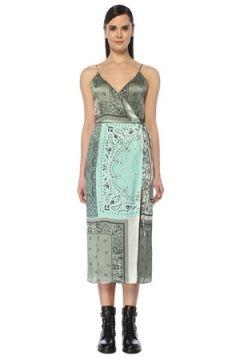 Amiri Kadın Yeşil V Yaka Şal Desenli Midi İpek Anvelop Elbise 38 IT(109265216)