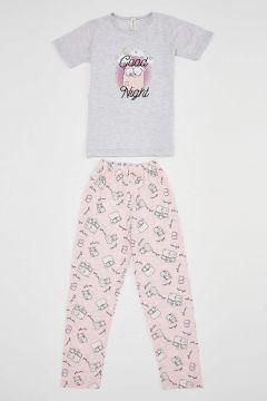 DeFacto Kız Çocuk Kuzu Baskılı Kısa Kollu Pijama Takımı(125930991)