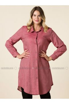 Maroon - Point Collar - Plus Size Tunic - RMG(110323003)