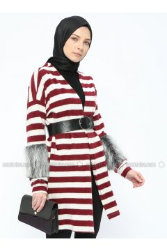 Maroon - Stripe - Cotton - Cardigan - Mileny(110314018)