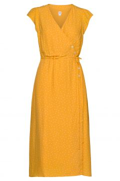 Wrap-Front Midi Dress Kleid Knielang Gelb GAP(116334563)