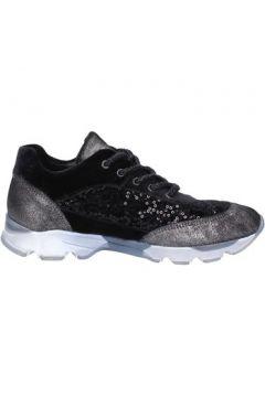 Chaussures Fiori Di Picche sneakers noir velours paillettes BX346(98483916)