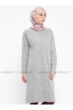 Gray - Crew neck - Wool Blend - Acrylic -- Tunic - PİLİSE(110313974)