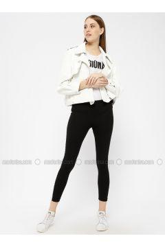 Black - White - Legging - AKBENİZ(110331041)