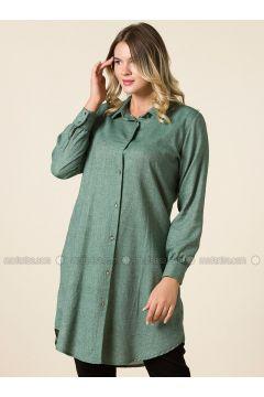 Khaki - Point Collar - Plus Size Tunic - RMG(110323007)