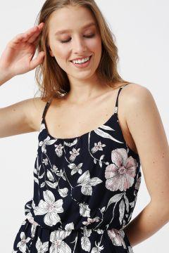 Only Çiçek Desenli Askılı Lacivert Elbise(113979044)