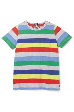 Joules Caspian Jungen Kurzarm-T-Shirt - Grey Multi Stripe(110372016)