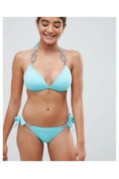 Lipsy - Bikinihose mit Seitenschnürung und Diamantenbesatz - Grün(86673558)