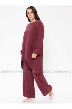 Dusty Rose - Unlined - Crew neck - Muslim Plus Size Evening Dress - Sevdem Abiye(110323347)