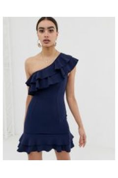 In The Style - Billie Faiers - Gerüschtes One-Shoulder-Träger-Kleid - Navy(83094155)