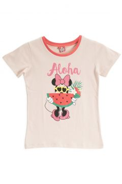 Mickey Mouse Mickey & Minnie Mouse Lisanslı Pudra Kız Çocuk T-Shirt(119158278)