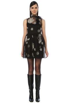 Red Valentino Kadın Siyah Fularlı Çiçek Aplikeli Mini Tül Elbise 42 IT(118330387)