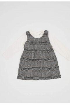 DeFacto Kız Bebek Askılı Ekoseli Elbise ve Tişört Takım(125930385)