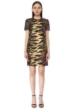 Dsquared2 Kadın Kahverengi Kaplan Desenli Mini İpek Elbise 44 IT(114438400)