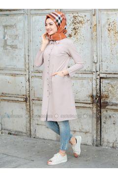 Cream - Point Collar - Tunic - Puqqa(110332935)