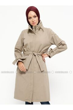 Beige - Unlined - Polo neck - Cotton - Jacket - SUEM(110315252)