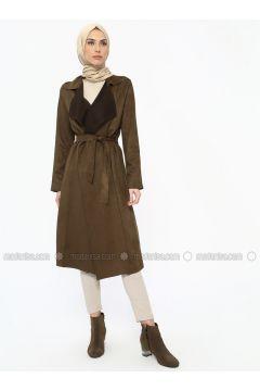 Khaki - Unlined - Shawl Collar - Topcoat - ECESUN(110322429)