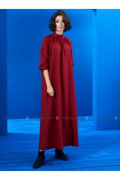 Red - Crew neck - Unlined - Dresses - Mevra(110323503)