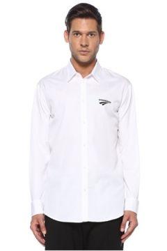 Dsquared2 Erkek Beyaz Polo Yaka Kontrast Logolu Gömlek 48 IT(119423237)